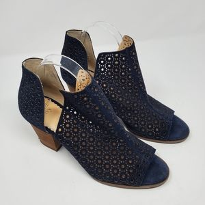 Crown & Ivy Sandi Open Toe Booties Blue Perforated